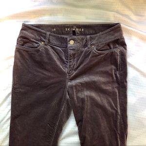 WHBM Gray Velvet Skimmer Jeans Sz 6 GUC zip ankle